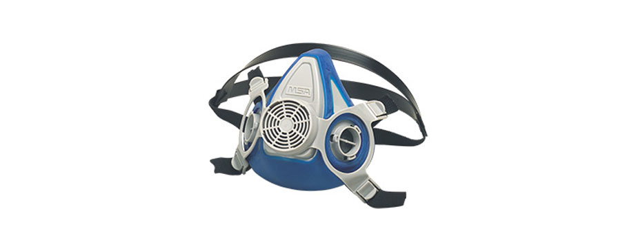blue respirator mask on white background