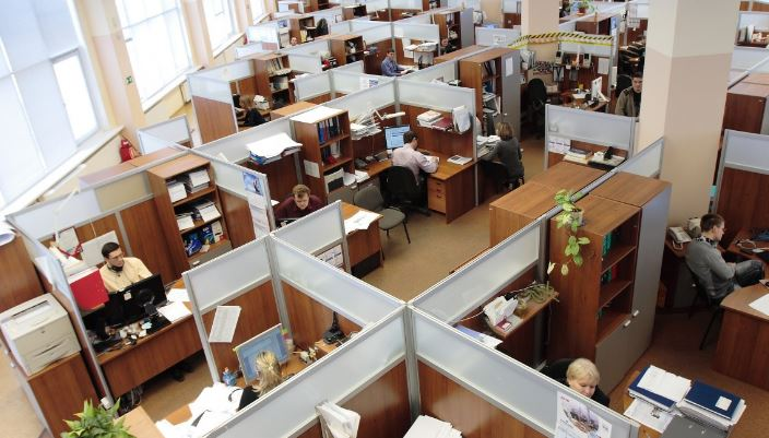 empty cubicles workplace